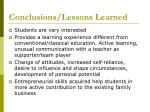 conclusions lessons learned