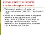 know about business in the sub region armenia