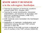 know about business in the sub region azerbaijan