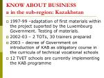 know about business in the sub region kazakhstan