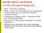 know about business in the sub region kyrgyzstan