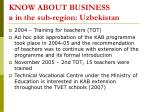 know about business in the sub region uzbekistan
