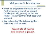 vba session 3 introduction