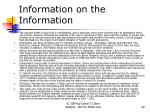 information on the information