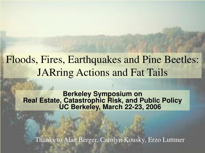 floods fires earthquakes and pine beetles jarring actions and fat tails n.