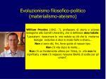 evoluzionismo filosofico politico materialismo ateismo2