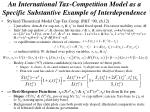 an international tax competition model as a specific substantive example of interdependence