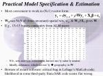 practical model specification estimation