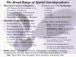 the broad range of spatial interdependence