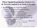 where spatial econometrics needs to go network analysis is or needs to go also