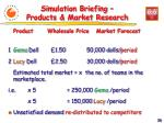 simulation briefing products market research