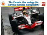 the formula one analogy for learning business management