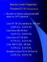 barrow creek properties prospect d a oxidised area