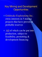 key mining and development opportunities