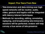 impact five years from now