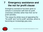 7 emergency assistance and the not for profit clause