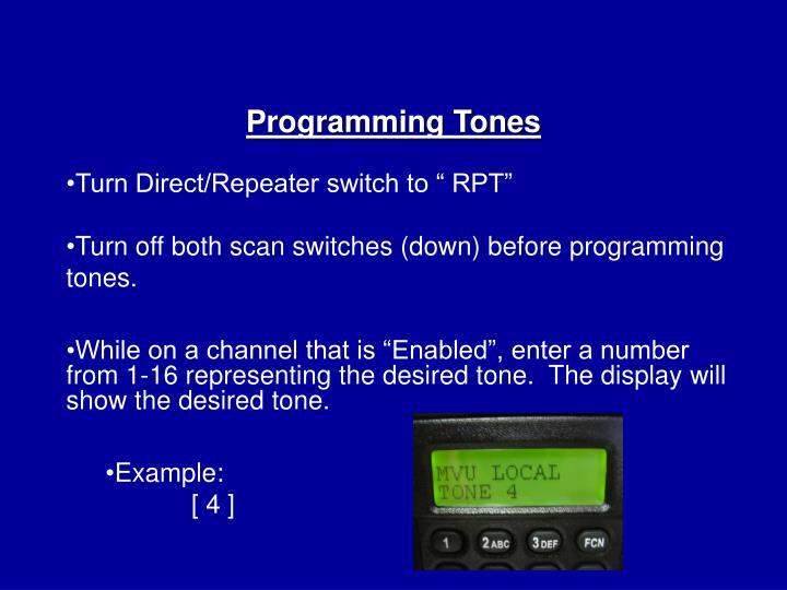 Programming Tones