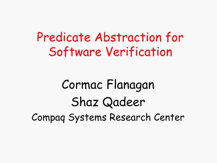predicate abstraction for software verification n.