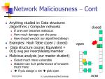 network maliciousness cont