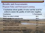 results and assessments program value and participant learning