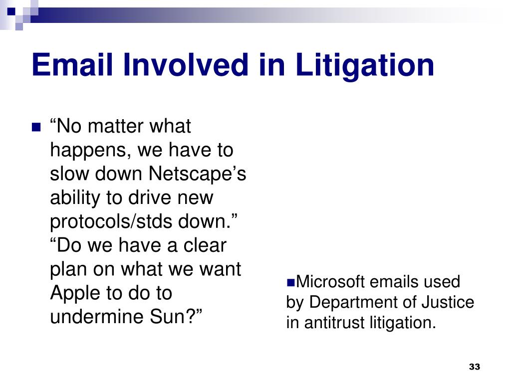 Email Involved in Litigation