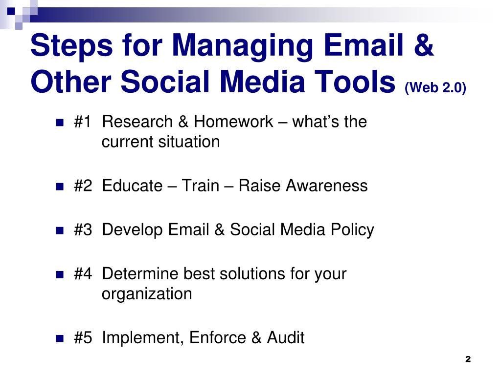 Steps for Managing Email & Other Social Media Tools