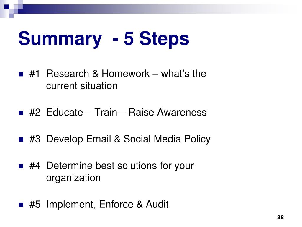 Summary  - 5 Steps