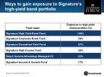 ways to gain exposure to signature s high yield bond portfolio