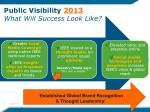 public visibility 2013 what will success look like