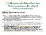 ny times article raises questions about government broadband deployment policies