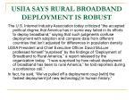 usiia says rural broadband deployment is robust