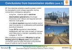 conclusions from transmission studies cont i