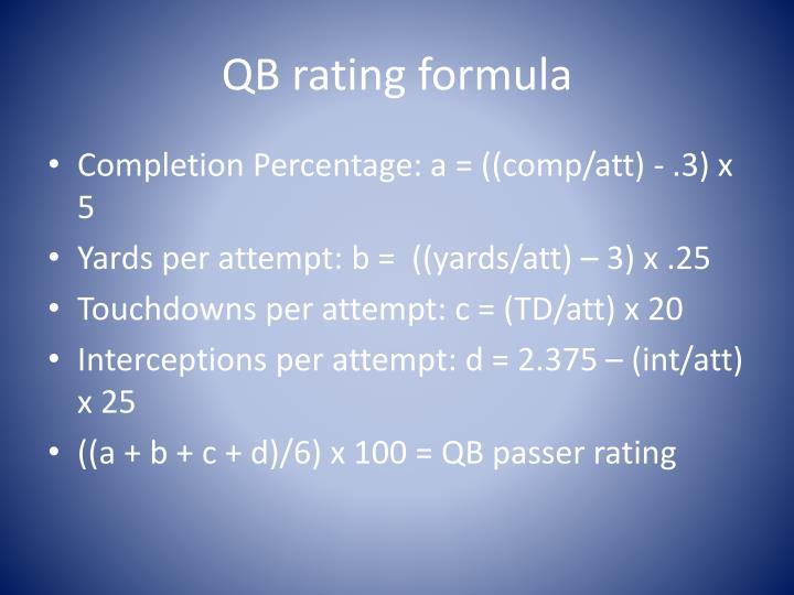 QB rating formula