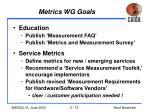 metrics wg goals