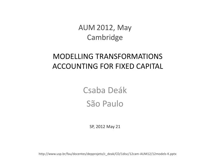 modelling transformations accounting for fixed capital n.