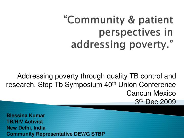 community patient perspectives in addressing poverty n.