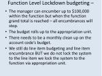 function level lockdown budgeting