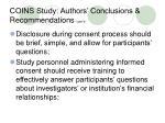 coins study authors conclusions recommendations cont d
