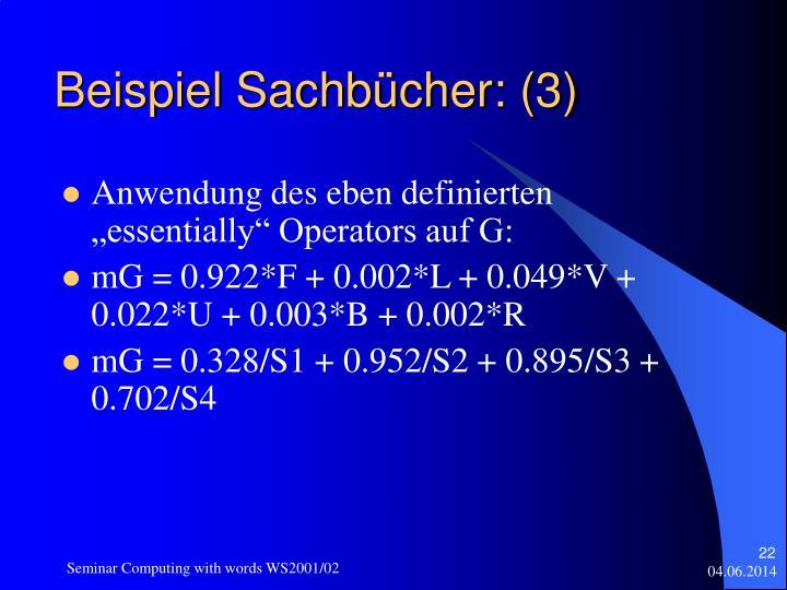 Beispiel Sachbücher: (3)