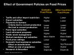 effect of government policies on food prices