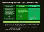 transforming towards a low carbon society