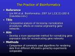 the practice of bioinformatics1