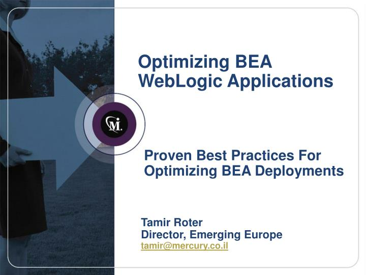 optimizing bea weblogic applications n.