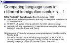 comparing language uses in different immigration contexts 1