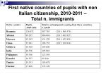 first native countries of pupils with non italian citizenship 2010 2011 total n immigrants