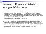 italian and romance dialects in immigrants discourse