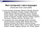 main immigrants native languages pavia and turin chini 2004
