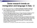 some research trends on immigration and language in italy 2