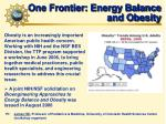 one frontier energy balance and obesity