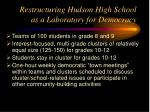 restructuring hudson high school as a laboratory for democracy